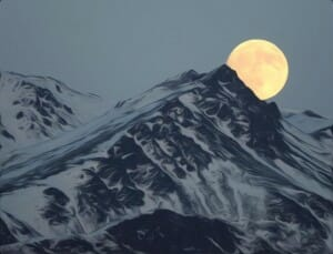 Moonrise over the Vikmordere Valley